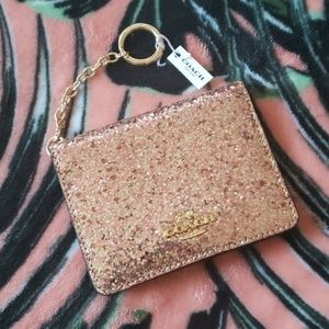 Coach Pink Glitter Credit Card Wallet NWT